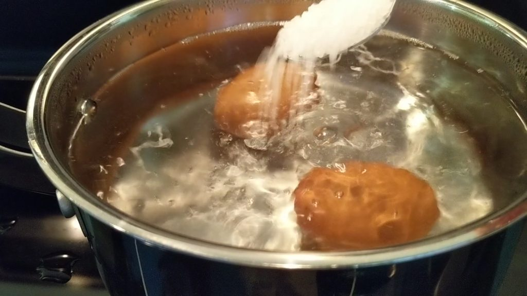 salt to boiled water