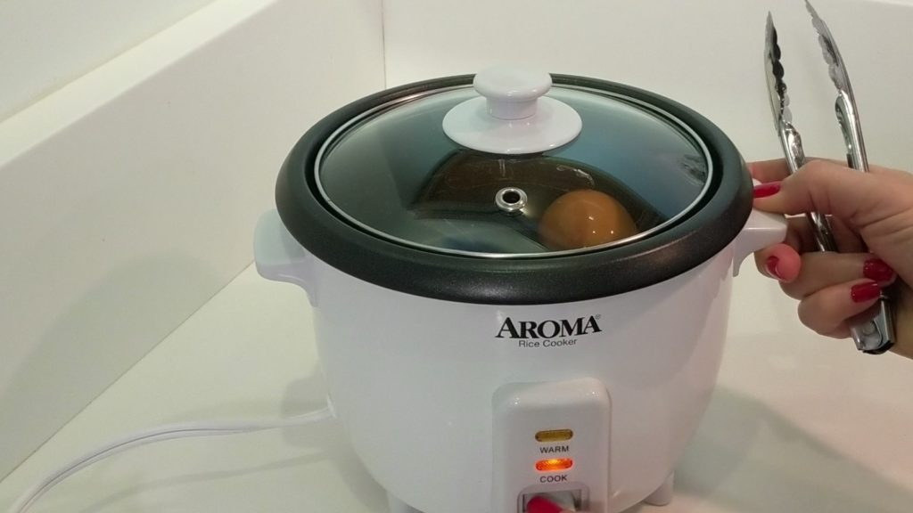 Aroma Rice Cooker 2 - 6 Cup Hard Boil Egg turn on to cook
