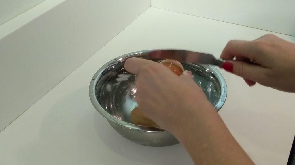 Crack the boiled egg shell