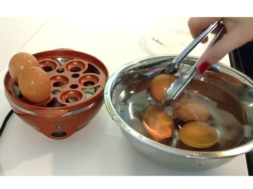 Place eggs in ice bath Perfect Egg Maker