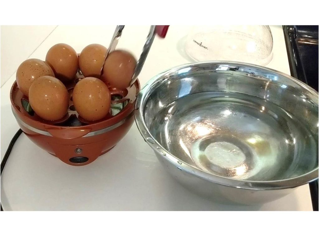 Place eggs in the icy water bath Perfect Egg Maker