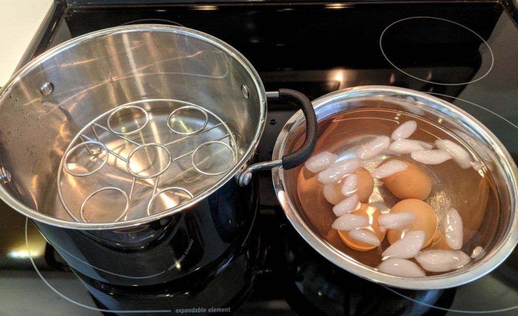 After cooking the boil eggs, ice bath and wire rack